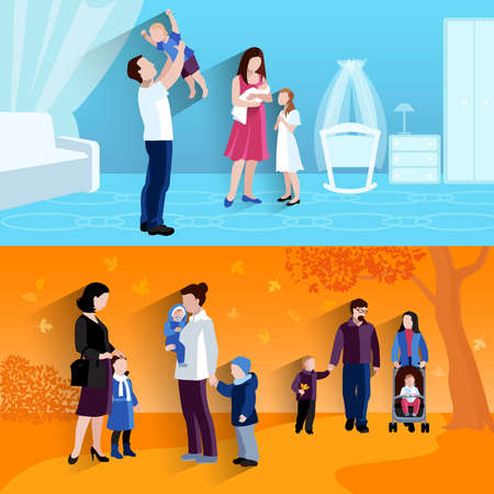 Parenting 2 flat banners square composition outdoors walking children and happy family home abstract isolated vector illustration