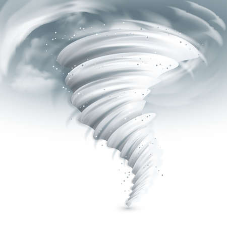 Realistic tornado swirl with dark clouds in sky vector illustration