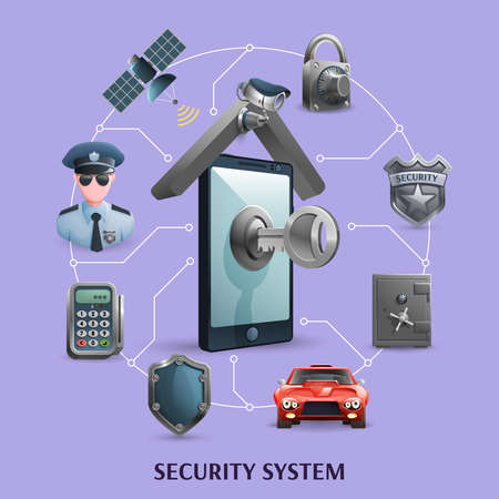 Security  concept icons set    with elements  of alarm system vector illustration