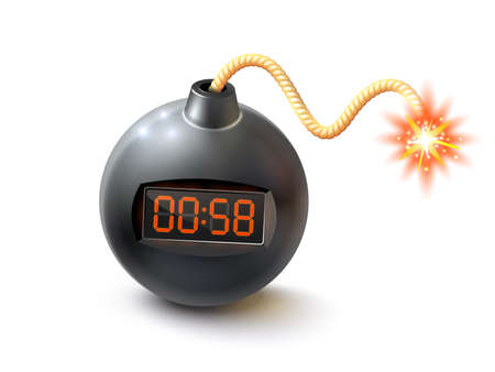 Round black bomb with timer and burning fuse realistic isolated vector illustration