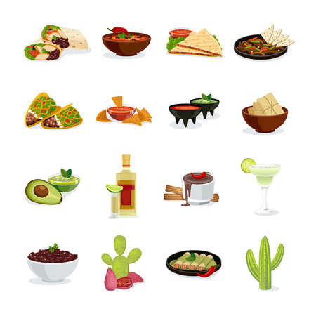Mexican cuisine dishes snacks and drinks flat icons set with cactus national symbol abstract isolated vector illustration