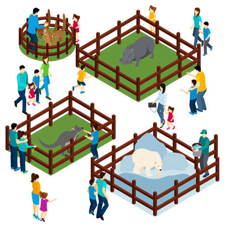 Outdoor zoo park with wild animals in open enclosures and visitors isometric composition banner abstract vector illustration