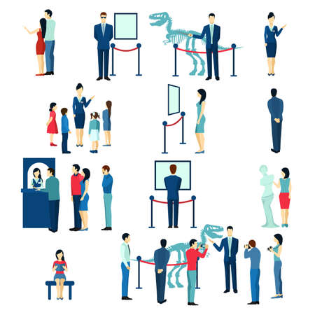Museum visitors children and adults buying tickets for guided tour flat icons collection abstract isolated vector illustration