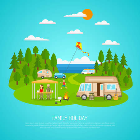 Family camping by the sea with motorhomes forest and fires flat vector illustration Vettoriali
