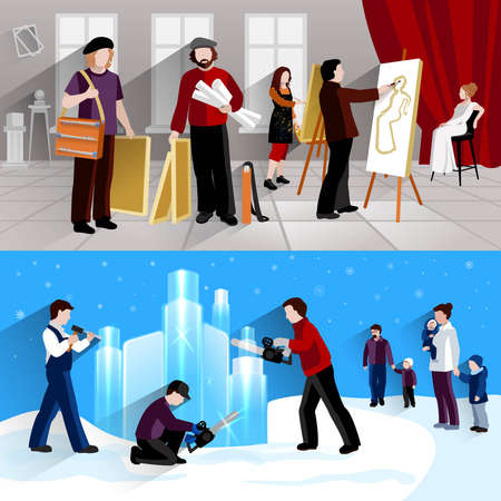 Painter and sculptor horizontal banner set with artist and ice figures flat elements isolated vector illustration