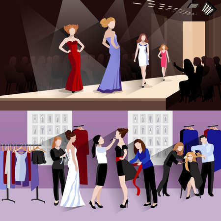 Fashion model horizontal banner set with women on catwalk and backstage dressing elements isolated vector illustration