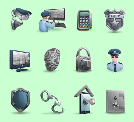 Decorative security icons set with  policeman badge handcuffs and symbols of protection  and guard isolated vector illustration Illustration
