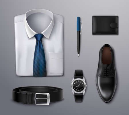 Businessman apparel accessories shirt pen wallet watch belt and shoe on background realistic isolated vector illustration