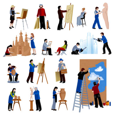 Flat icons set of creative profession people like artist painter sculptor ceramist street art isolated vector illustration