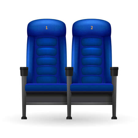 Blue comfortable realistic cinema seats set for cinema visiting vector illustration
