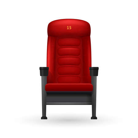 Cinema red comfortable realistic seat for watching movies vector illustration