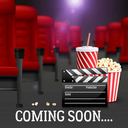 Cinema and filmmaking realistic background with cola and popcorn vector illustration