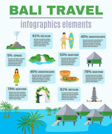 Infographics elements Bali travel with statistics of visits to places of interest vector illustration