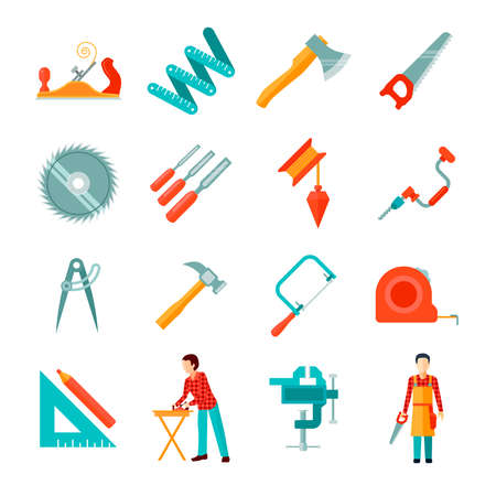 Set of different carpenter tools isolated flat icons vector illustration