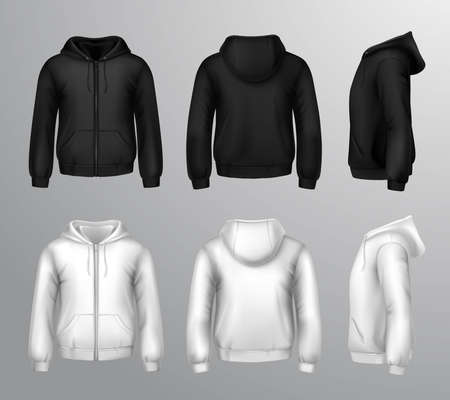 Set of black and white male hooded sweatshirts in realistic style isolated vector illustration Vetores