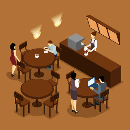 Coffee shop cafe isometric banner in brown tints with barista and waitress serving visitors abstract vector illustration