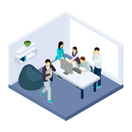 Coworking and teamwork with creative thinking help and brainstorming isometric vector illustration