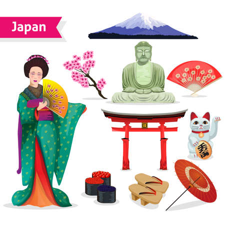Japan touristic set with woman in kimono fuji lucky cat and symbols of religions isolated vector illustration
