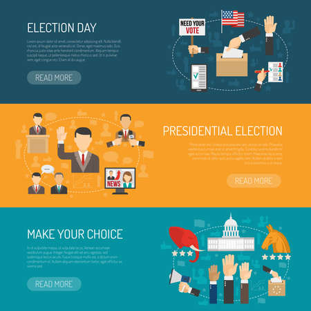 Horizontal color banner depicting steps of american presidential elections isolated vector illustration