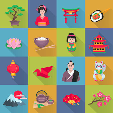 Japanese culture flat icons collection with lotus flower red lantern and bonsai shadow abstract isolated vector illustration 向量圖像