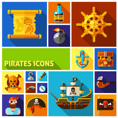 Pirates flat cartoon icons in colorful squares with map ship helm anchor smoking pipe bottle of rum isolated vector illustration Illusztráció