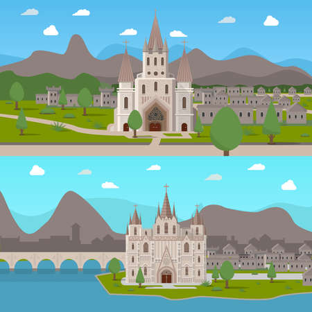 Two horizontal compositions with  gothic temples in cartoon style on medieval town background flat vector illustration