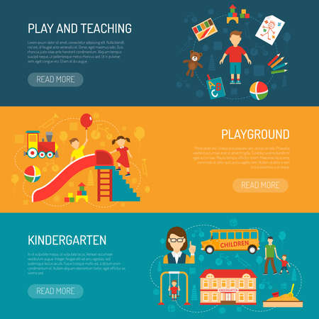 Horizontal banners presenting kindergarten itself play and teaching with boy and playground with playing children flat vector illustration