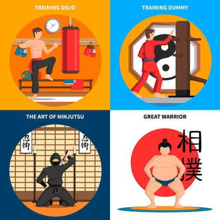 Martial arts concept icons set with training and art of ninjutsu symbols flat isolated vector illustration