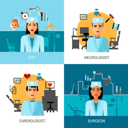 Specialist doctors concept set with avatar of ent surgeon cardiologist and neurologist isolated vector illustration