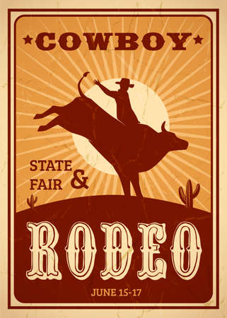 Advertisement rodeo poster in retro style with cowboy riding wild horse on sunset background flat vector illustration Vetores