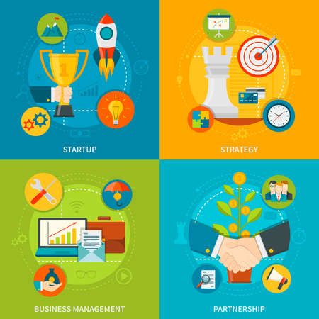 Entrepreneurship 2x2 design  concept set of startup business management partnership and strategy flat compositions vector illustration