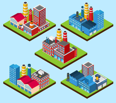 Industrial buildings nuclear power station 3d isometric set isolated vector illustration