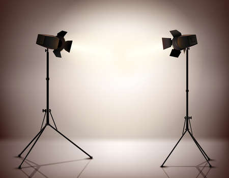Standing strobe tripods electrical spotlights professional photograph equipment realistic background vector illustration