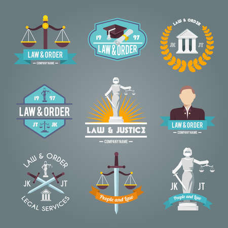 Law and order legal service justice procedures company labels flat symbols collection icons set isolated vector illustration