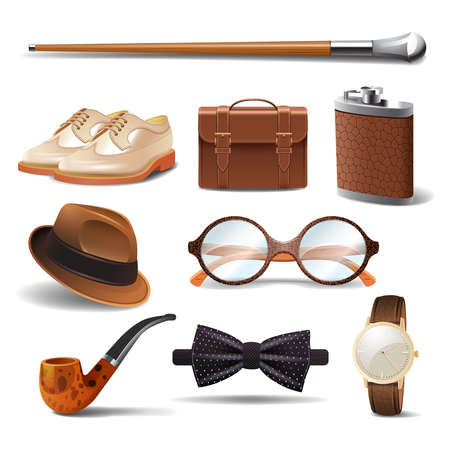 Gentleman realistic accessories decorative icons set with cane shoes smoking pipe isolated vector illustration