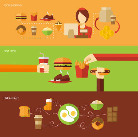 Fast food banner set with breakfast shopping elements isolated vector illustration