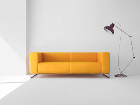 Living room interior with realistic yellow sofa and lamp vector illustration 向量圖像