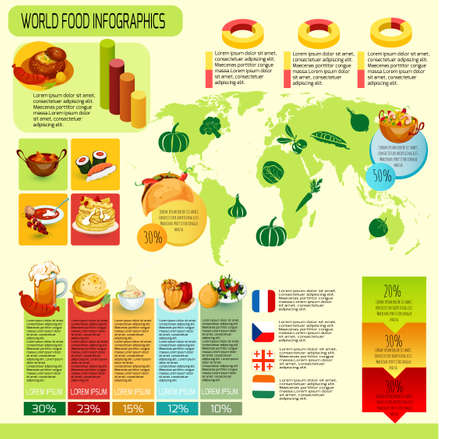 International cuisine infographics with world map food symbols and charts vector illustration