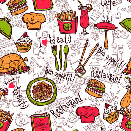 Cafe bar fast food hamburger chips symbols seamless restaurant wrap paper pattern doodle sketch abstract vector illustration