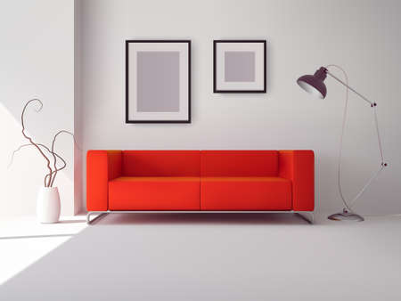 Realistic red square sofa with lamp and picture frames interior vector illustration