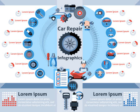 Car repair infographics set with auto mechanic symbols and charts vector illustration