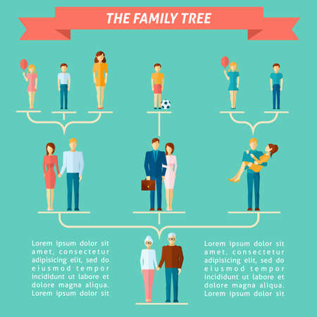 Family tree concept with people of different generations flat vector illustration