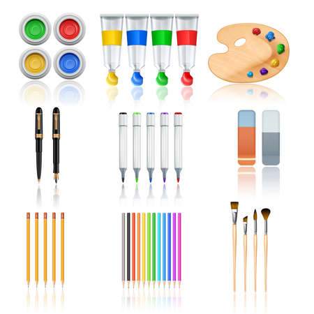 Drawing and painting tools with realistic color palette pencils and brushes isolated vector illustration