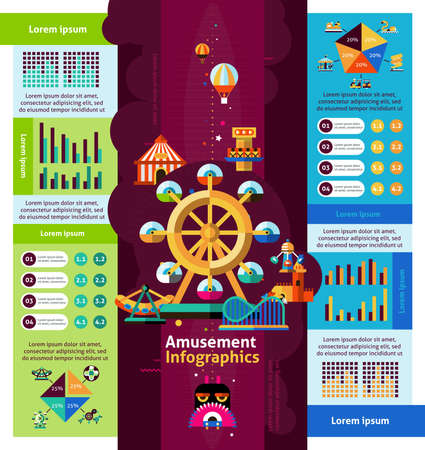 Amusement park infographics set with attractions and entertainment symbols and charts vector illustration