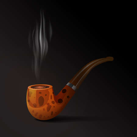 Realistic old style smoking tobacco pipe on black background vector illustration Illusztráció