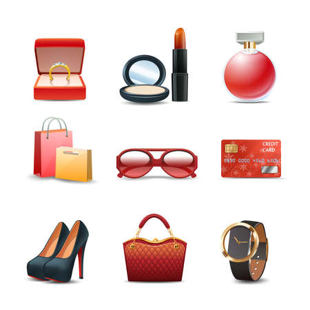 Women shopping realistic decorative icon set with ring lipstick perfume isolated vector illustration