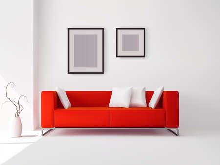 Realistic red sofa with white pillows and frames and pot with plant vector illustration 向量圖像