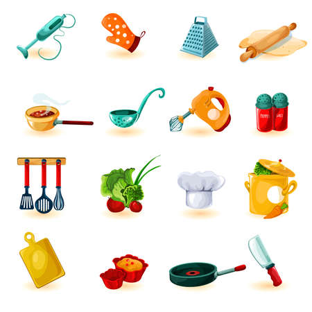 Cooking utensil decorative icons set with mixer knife bowl isolated vector illustration