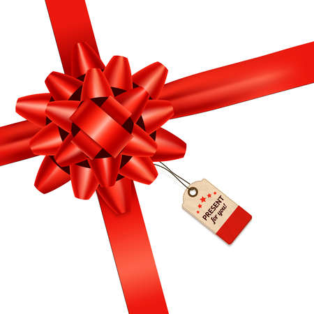 Red realistic bow with paper tag holiday present background vector illustration