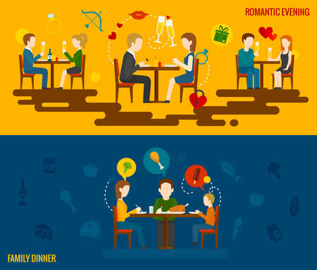 People in restaurant horizontal banner set with romantic evening and family dinner elements isolated vector illustration Vetores